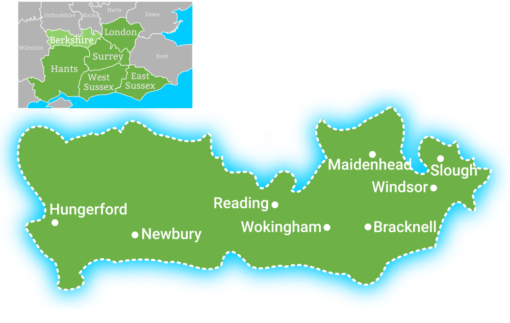 Map showing coverage area for Earth Electrical in Berkshire, including Reading, Maidenhead, Slough, Windsor, Bracknell, Wokingham, Newbury, Hungerford