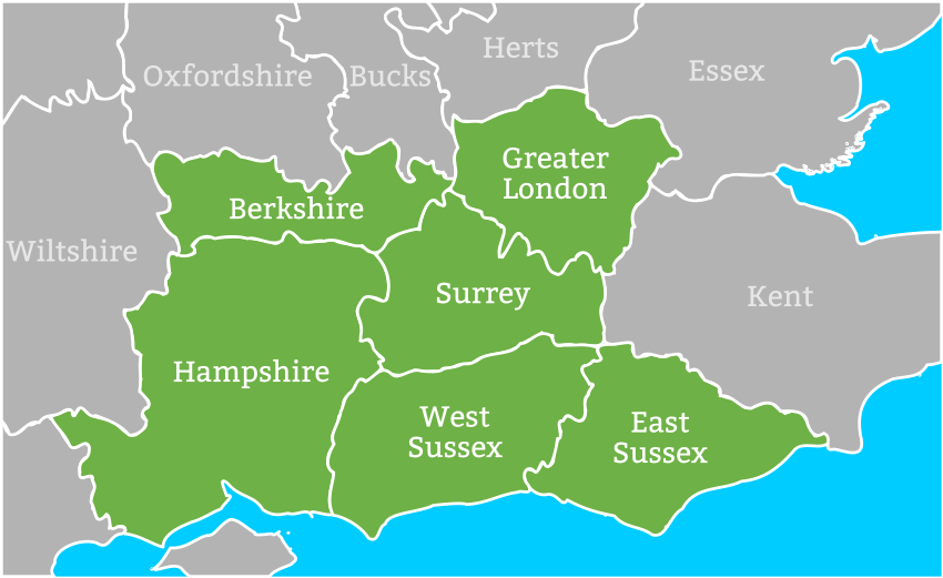 Coverage area is London, Surrey, Hampshire, Berkshire, West Sussex, East Sussex