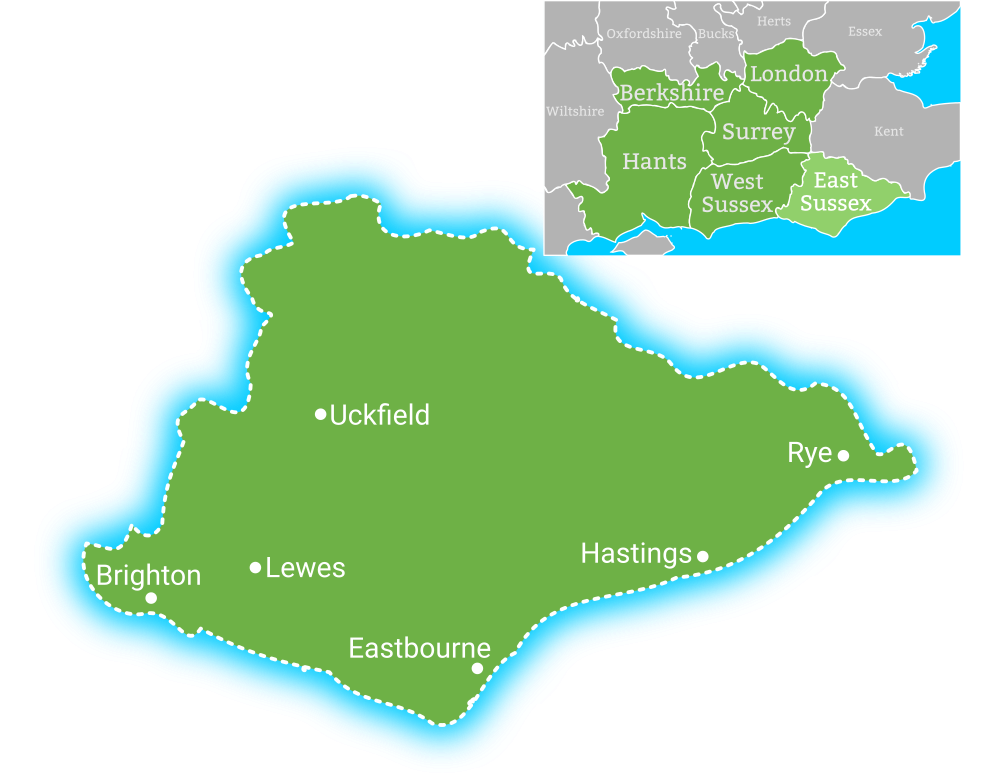 Map showing coverage area for Earth Electrical in East Sussex, including Brighton, Lewes, Eastbourne, Uckfield, Hastings, Rye