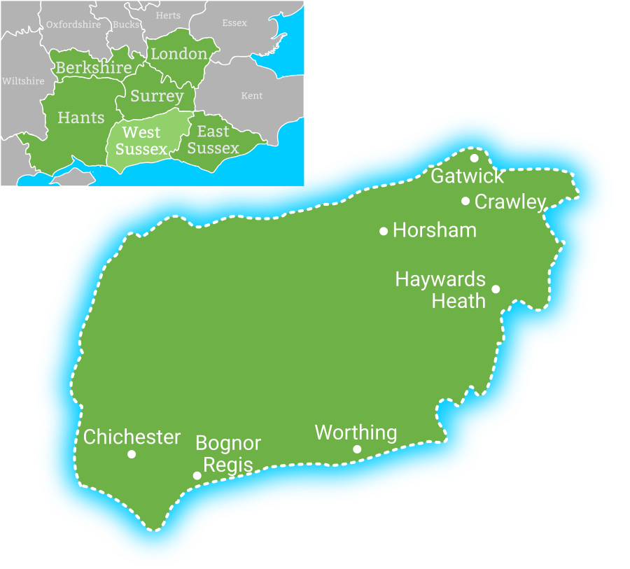 Map showing coverage area for Earth Electrical in West Sussex, including Gatwick, Crawley, Horsham, Hawyards Heath, Worthing, Bognor Regis, Chichester