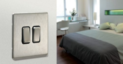 Home electrical services showing brushed-steel light switch