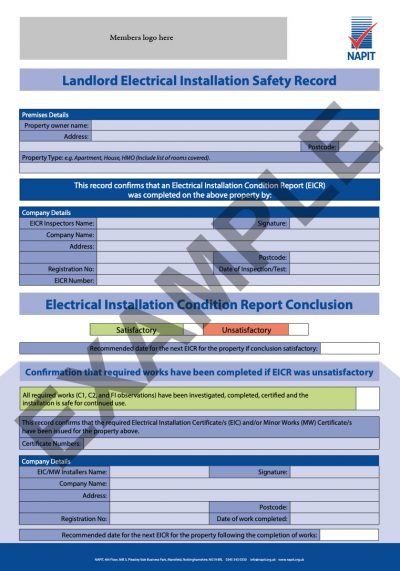 Example electrical condition report